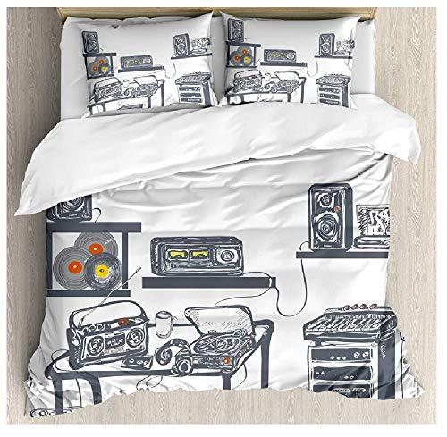 BAIYANG Duvet Cover Set Recording Studio With Music Devices Turntable Records Speakers Digital Illustration 3/4Pcs Bedding Set Single(135x200cm)