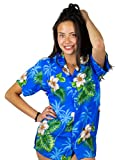 V.H.O. Funky Hawaiian Blouse Shirt, Small Flower, Lightblue, M