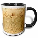 3dRose Vitruvian man by Leonardo da Vinci 1490 Mug, 11 oz, Black