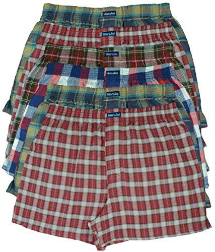 6 oder 4 Web Boxershorts 100% Baumwolle lockere US Style Webboxer kariert in vielen Mustern, Herren Boys Short Jungen Boxer Gewebte Boxer Größen: S M L XL 2XL 3XL 4XL, Muster 05 Flanell, XL-7