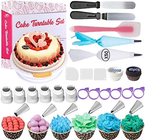 Cake Decorating Kits Supplies 156-in-1 Baking Accessories with Cake Turntable Stand, Icing Spatula Smoother, Icing Decorating Tips,Icing Disposable pastry Bag Ties, Icing Coupler, paper cupcake