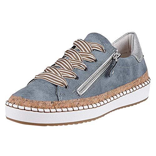 DressLksnf Mujer Planas Zapatos Moda de Cremallera Atar la Cuerda Zapatos Solos Punta Redonda Tallas Grandes Zapatillas de Casual Plana Tobillo Zapatos de Lona