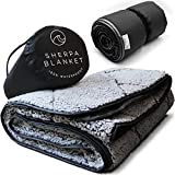 Oceas Sherpa Waterproof Camping Blanket - Extra Warm and Large Sherpa Fleece Outdoor Blanket for Car, Boat, Concert, & Picnic Use - Machine Washable and Windproof Camping Blankets for Cold Weather