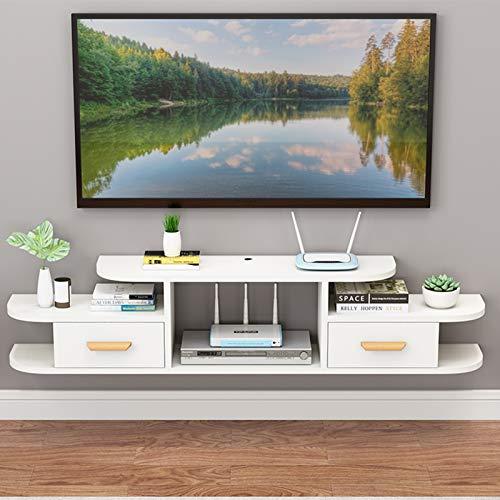 Mueble de TV Flotante de 2 Pisos,Estante de Almacenamiento de Entretenimiento de Consola Multimedia Minimalista Moderno Montado en La Pared,Oficina en Casa Sala de Estar Mueble de TV Colgante