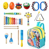 Warooma 13 pcs Musical Instruments Set Music Rhythm Percussion Set Musical Toys with Storage Bag for...