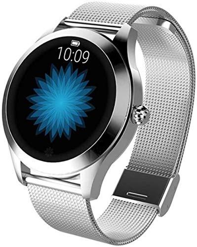 AMBM Reloj inteligente para mujer, pulsera de frecuencia cardíaca, monitor de sueño, reloj inteligente, conecte iOS Android KW10 Band (color: acero plateado) y acero plateado