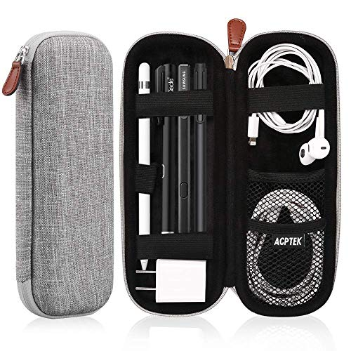 AGPTEK Apple Pencil 2 Case Holder, Premium Carrying Case for Stylus iPad Pro Pen, Pencil, Samsung, Huawei, Apple Pen Accessories, USB Cable, Earphone, Fountain Pen, Gray