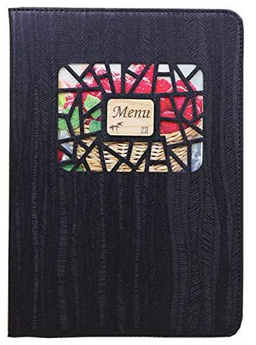 10枚セット 小窓付き メニュー ブック ファイル A4 全4色 木目 料理 選択 中閉じ スタンダード レシピ バインダー… (ブラック)