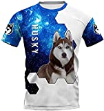 HSBZLH Camiseta Termica Niño Azul Funny Dog Camisetas Impresas En 3D Mujeres para Hombres Tops-5Xl