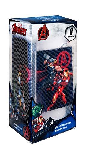 Undercover AVER2254 Mal-und Schreibturm mit Stiften, Block und viel Zubehör, Marvels The Avengers, 22 teilig