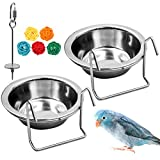 2 Pack Bird Feeder Birds Bowls Stainless Steel Dishes Coop Cups with Wire Hook, Parrot Feeding Dish Cups Food Water Bowls with Bird Food Holder and Rattan Ball for Finches Lovebirds (Set 1)