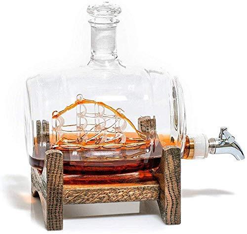 qiuqiu Decantador De Whisky, Botella De Whisky con Soporte De Madera, Dispensador De Vino con Espita De Acero Inoxidable para Barco De Vela para Tequila, Borbón, Ron Escocés, Relacionado con Alcohol