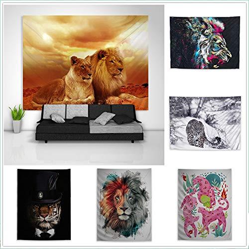 Crazynekos Tapiz de leopardo de tigre león tríptico para colgar en la pared del sofá, mesa o cama, mural para la playa, decoración del dormitorio del hogar, regalo (C,200 x 150 cm)