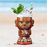 Tiki - Tazza in gres porcellanato, 430 ml, fatta a mano, per birra, bar, cocktail, cocktail hawaiani, per spiaggia, feste, bar, ristorante, decorazione per la casa