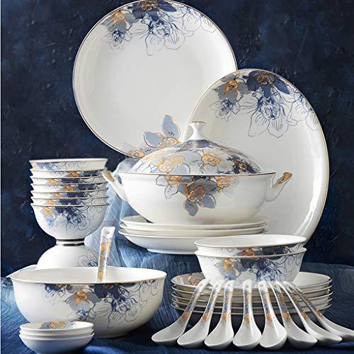 ZLDGYG Platos de cerámica 46 Piezas Juego de Utensilios de Cocina de Porcelana Sunshine Juego de vajilla Platos de Porcelana de Hueso Juego de Platos y Cuencos de Lujo