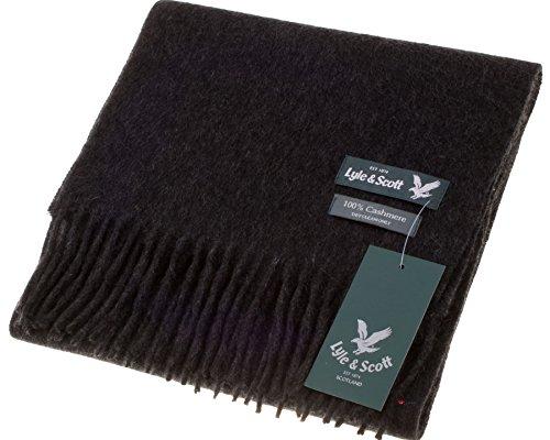 Lyle & Scott Unisex Cashmere Scarf In Charcoal Tartan Design 25.5 cm Wide