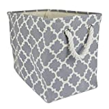 DII Collapsible Polyester Storage Basket or Bin with Durable Cotton Handles, Home Organizer Solution...