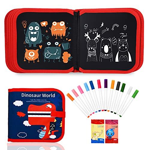 FORMIZON Juegos de Pintura para Niños, Tablero de Graffiti, Tabla de Dibujo Portátil Borrable para Niños, Juguetes de Dibujo Libro de Colorear Reutilizable con 12 Plumas de Colores (Rojo-Dinosaurio)