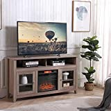 HOSEOKA Modern TV Stand with Fireplace, Wood Entertainment Center with Storage, Wide Farmhouse Media Console Cabinet for TV Up to 65'