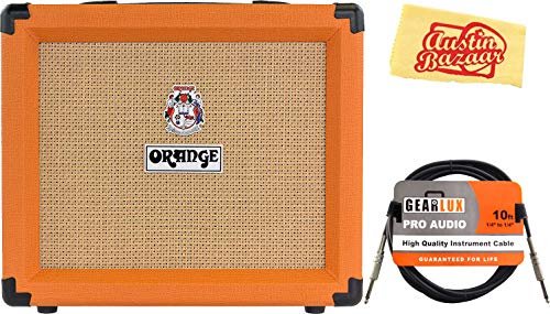 Orange Crush 20 Guitar Combo Amplifier Bundle with Instrument Cable and Austin Bazaar Polishing Cloth