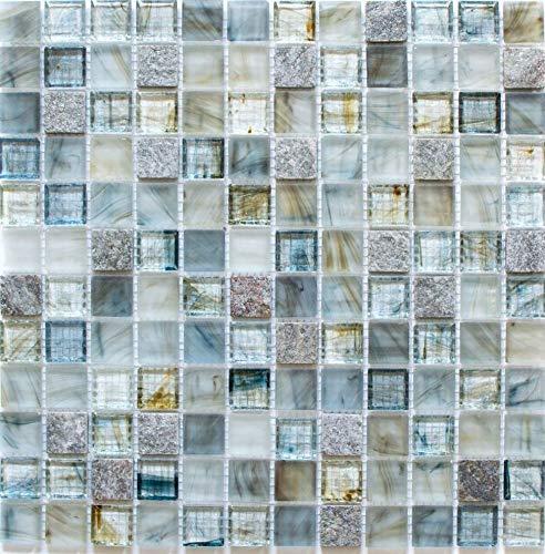 Mosaik Fliese Transluzent hellgrau Glasmosaik Crystal Stein Cream hellgrau für WAND BAD WC DUSCHE KÜCHE FLIESENSPIEGEL THEKENVERKLEIDUNG BADEWANNENVERKLEIDUNG Mosaikmatte Mosaikplatte