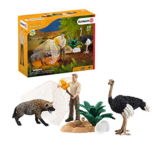 Schleich Wild Life Hyena Attack 8-Piece Playset for Kids Ages 3-8 with Ranger and Ostrich