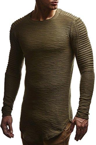 Leif Nelson Herren Pullover Rundhals-Ausschnitt Schwarzer Männer Longsleeve dünner Pulli Sweatshirt Langarmshirt Crew Neck Jungen Hoodie T-Shirt Langarm Oversize LN6326 Khaki Large