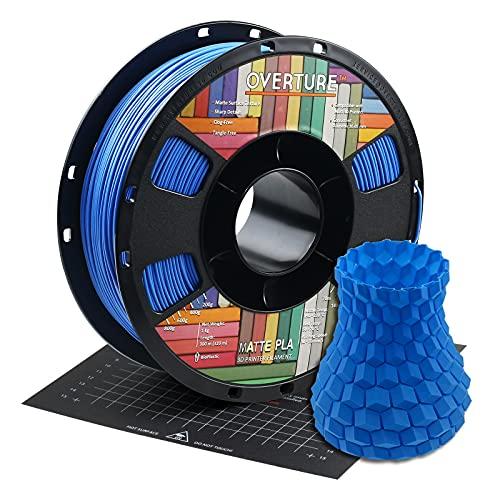 OVERTURE Matte PLA Filamento 1.75mm con 3D Costruisci Superficie 200mm x 200mm Consumo, Opaco PLA Roll 1kg Bobina(2.2lbs), Precisione Dimensionale +/- 0.05 mm, per Stampante 3D (Blu)