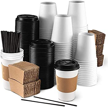 50-Pack KBG Disposable Coffee Cups with Lids