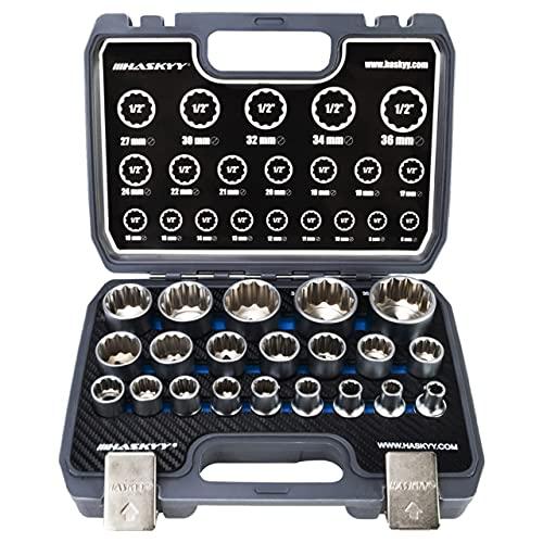 21tlg. HASKYY® Vielzahn Steckschlüssel Nusskasten I 8-36mm 12 Kant - 6 Kant I XZN Torx Stecknüsse Satz System