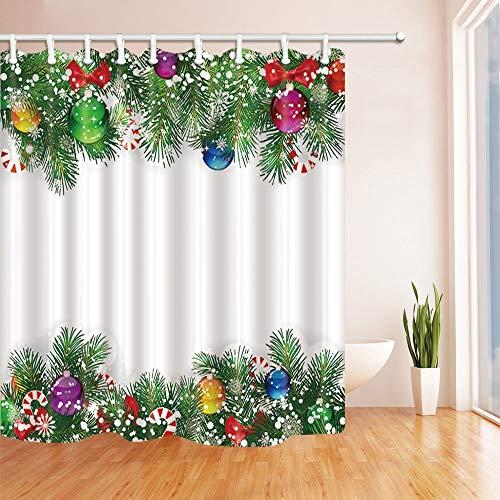 LRSJD Kleurrijke kerstballen in dennenbladeren voor het nieuwe jaar, douchegordijn, polyester, waterdicht, voor badkamer 71 x 71 cm, douchegordijnen inclusief haken
