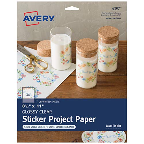 """Avery Printable Sticker Paper, Glossy Clear, 8.5"""" x 11"""", Laser & Inkjet Printers, 7 Sheets (4397)"""