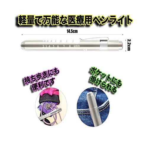 医療ナース用瞳孔計ペンライトLEDペンライト丸ゲージ付きクリップ式…(シルバー)[一般医療機器]