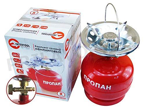 GELA Campingkocher Camping Herd Gaskocher Set mit Leere befüllbare Gasflasche 5 kg. Propan Butan