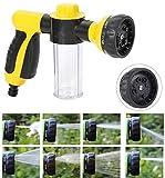 Manguera de jardín boquilla de agua del rociador 8 patrones ajustables, de alta presión de espuma de lavado Pistola de aerosol for regar las plantas de lavado de coches y ducharse mascotas fanghua