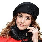 TININNA Sombrero Lana para Mujer,Otoño e Invierno Boina Flores Bucket Felt Beret Gorro Caliente Bolas Sombrero-Negro