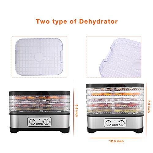 Meykey Food Dehydrator with Temperature Controller 95-158°F, Fruit-Meat Dryer, Digital Dehydrator, BPA-Free, 250W / Button