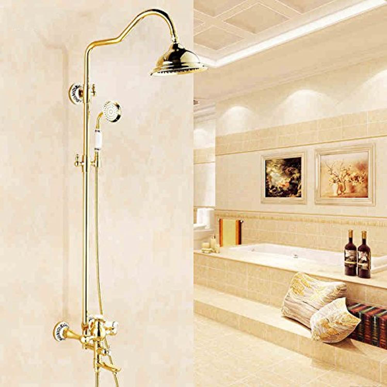 CFHJN HOME Mixer Water Tap copper European style Hot and cold Golden jade Gold plated Restroom Fixtures Commercial Bathroom Sink Taps