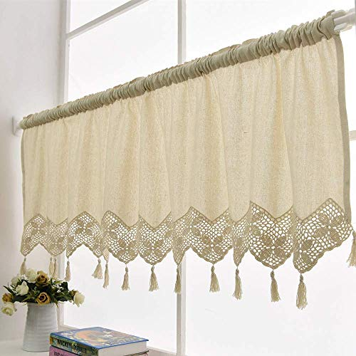 Beige Crochet Valances for Windows Macrame Kitchen Curtains Hollow Floral Short Curtain Cotton Pastoral Cafe Curtains Retro Valances with Tassels Curtains Decoration for Home Kitchen - 59 by 17 Inches