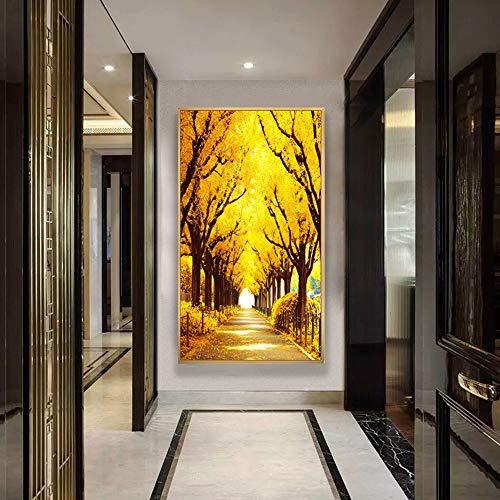 SYyshyin Pintura vertical 5D sin marco, pintura de diamante de la avenida dorada, para decoración de la pared de la sala de estar (tamaño: 60 x 120 cm)