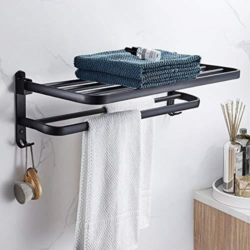 Aikzik Handtuchstange Handtuchhalter Ohne Bohren mit 2 Haken Schwarz handtuchhalter selbstklebend für Badezimmer und Küchen 40cm