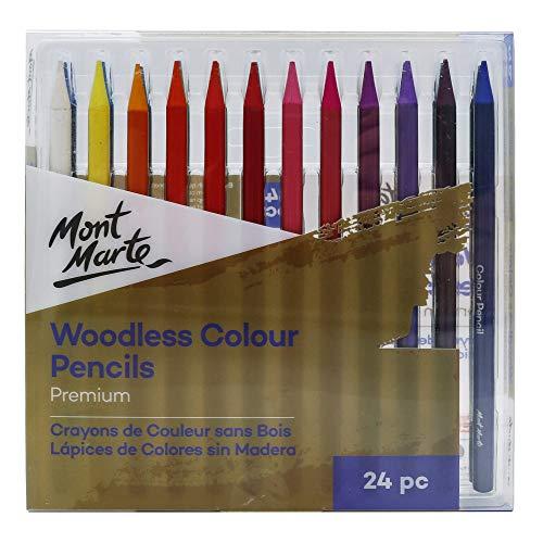 Mont Marte Premium Woodless Color Pencils 24pc, 7mm Core, Vibrant Colors
