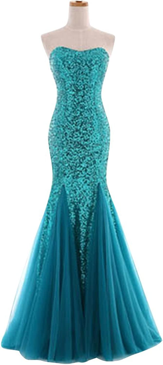 Drasawee Women Sexy Strapless Sequins Mermaid Evening Dress Formal Bridesmaid Gowns Green US16