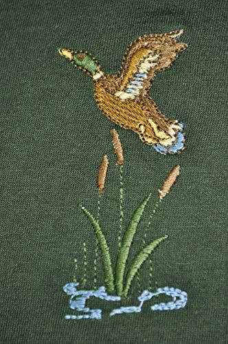 Hubertus Jagdpullover mit Motiv Wildschwein, Rehbock oder Enten Herren Oliv/grün Outdoorpullover Forstpullover Jäger von oefele.de (4XL (60), Fliegende Enten)
