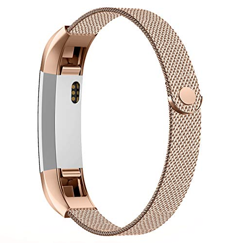 POY Compatible for Fitbit Alta Bands, Stainless Steel Metal Replacement Bracelet Strap with Unique Magnet Lock for Fitbit Alta and Fitbit Alta HR Rose Gold Small
