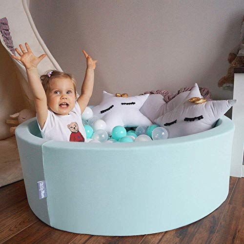 KiddyMoon Bällebad 90X40cm/300 Bälle ∅ 7Cm Bällepool Mit Bunten Bällen Für Babys Kinder Rund, Hellgrau:Perle/Grau/Pink