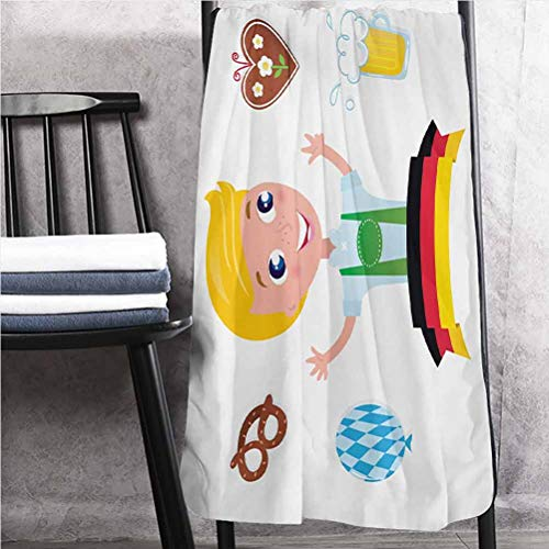 ParadiseDecor German Bath Towels Lighter Weight Quick Drying Towel Bavarian Boy with Blonde Hair with Oktoberfest Symbols Beer Balloon and Pretzel Multicolor 30' W x 60' L