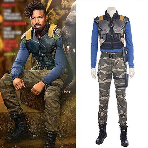 Rubyonly Heißer Neuer Film Black Panther Kostüm Erik Killmonger Kostüm Halloween-Kostüme für Männer Full Set,Whole Set,XXL