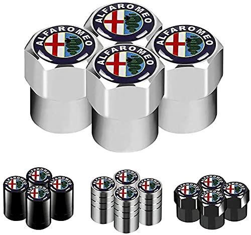 Coche Neumático Tapas Válvulas para Alfa Romeo 159 147 156 166 Giulietta Giulia Mito Spider, Antirrobo Antipolvo Resistente Agua Decoración Accesorio