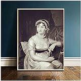 djnukd El Retrato De Jane Austen Vintage Carteles E Impresiones Lienzo Arte Pintura Cuadros De Pared para Habitación 50X70Cmx1 Sin Marco